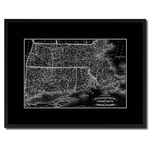 Massachusetts Connecticut Rhode Island Vintage Monochrome Map Canvas Print with Gifts Picture Frame Home Decor Wall Art