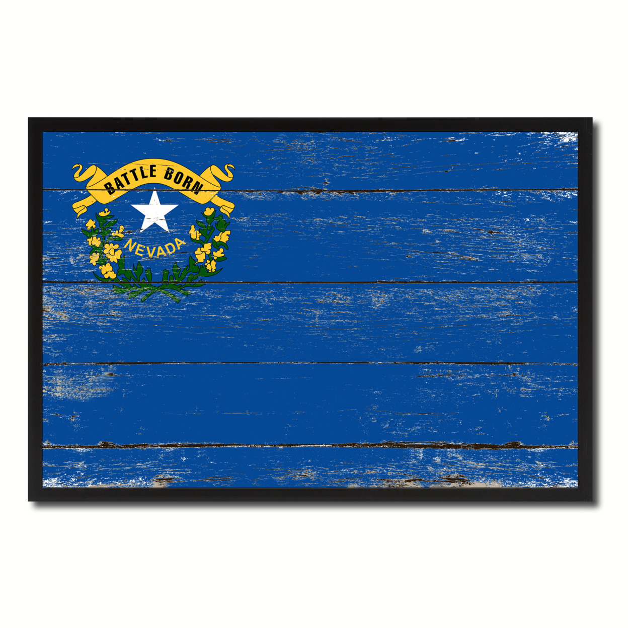 """Nevada Flag Canvas Print, Picture Frame Gift Ideas Home D+cor Wall Art Decoration 7\""""x10\"""""""