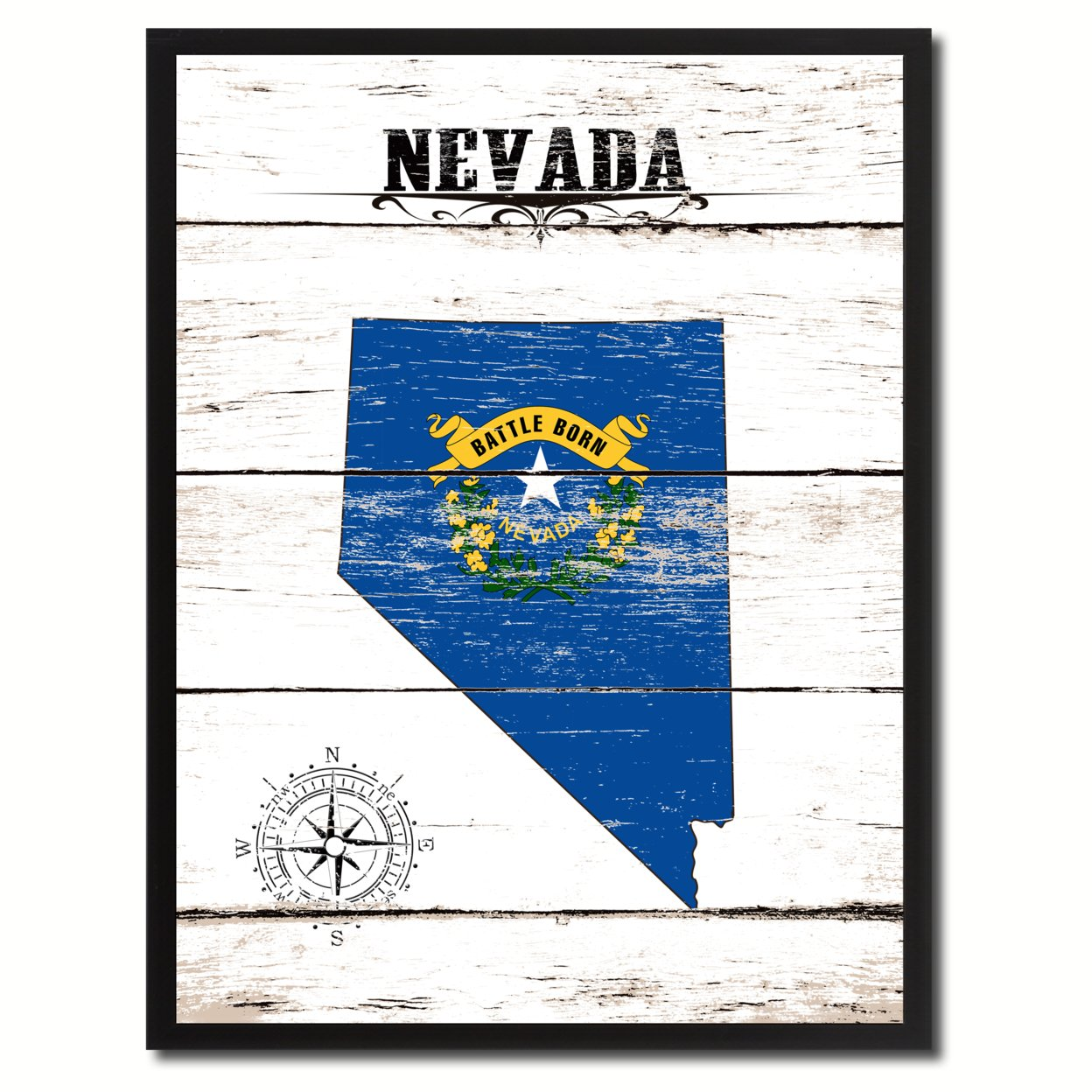 """Nevada State Flag Canvas Print Picture Frame Home Decor Wall Art Gifts 7\""""x9\"""""""