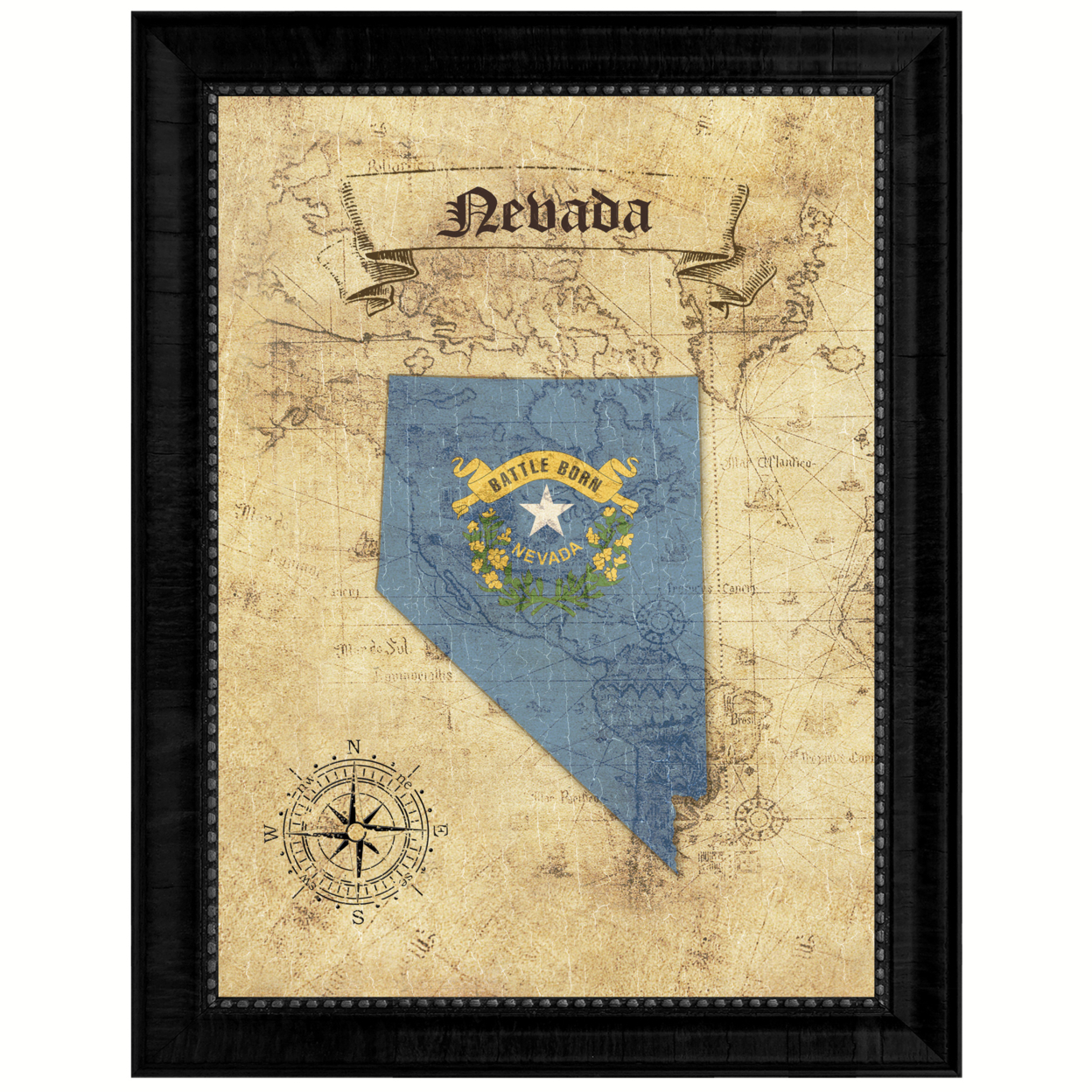 """Nevada State Vintage Map Canvas Print With Picture Frame Home Decor Wall Art Office Decoration Gift Ideas 15\""""x19\"""""""
