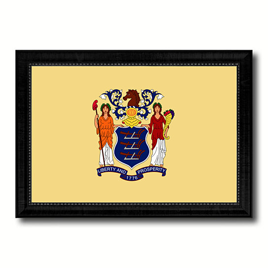 Buy New Jersey State Flag Canvas Print With Picture Frame