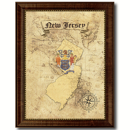Buy New Jersey State Flag Vintage Map Canvas Print With