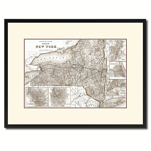New York Vintage Sepia Map Canvas Print with Picture Frame Gifts Home Decor Wall Art Decoration