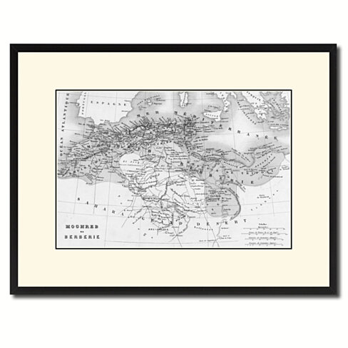 North Africa Barbary Coast Vintage B&W Map Canvas Print with Picture Frame Home Decor Wall Art Gift Ideas