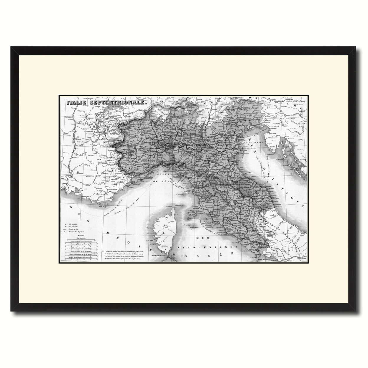 "North Italy Vintage B&W Map Canvas Print, Picture Frame Home Decor Wall Art Gift Ideas – 16"" x 21"""