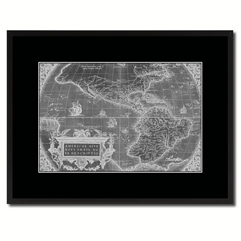 North South America Vintage Monochrome Map Canvas Print with Gifts Picture Frame Home Decor Wall Art