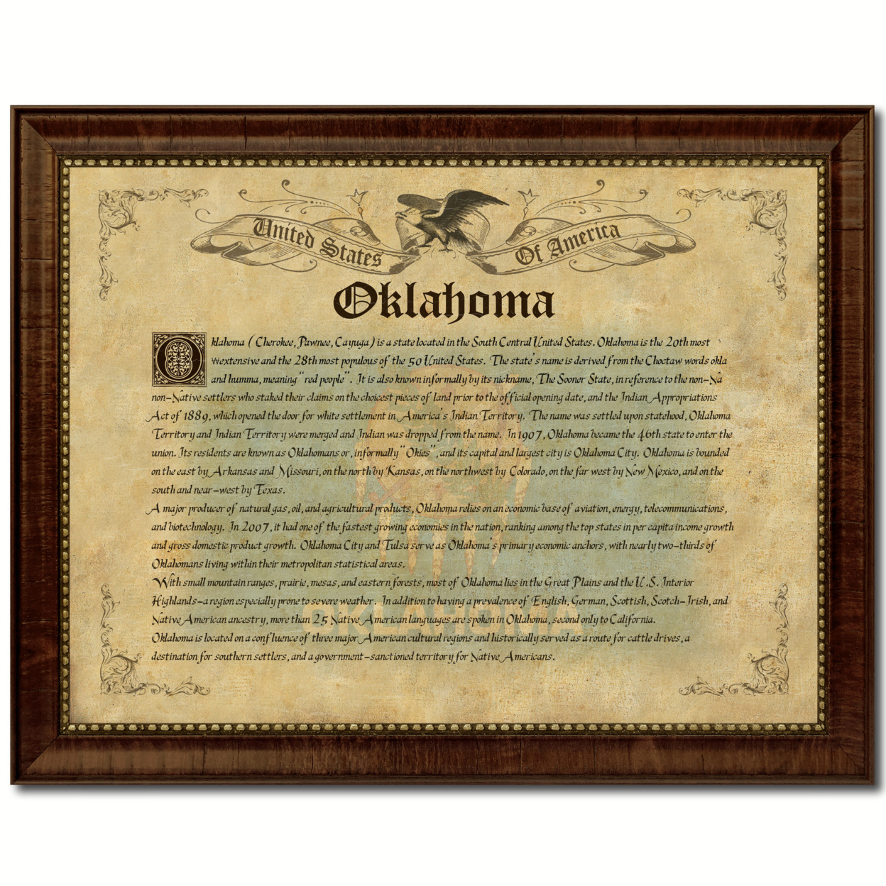 Oklahoma State Vintage History Flag Canvas Print With Picture Frame Home Decor Wall Art Decoration Gift Ideas