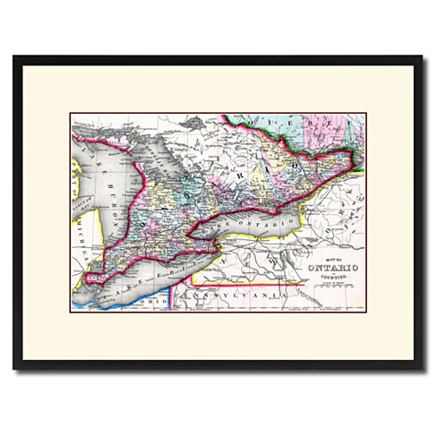 Ontario Canada Vintage Antique Map Wall Art Home Decor Gift Ideas Canvas Print Custom Picture Frame