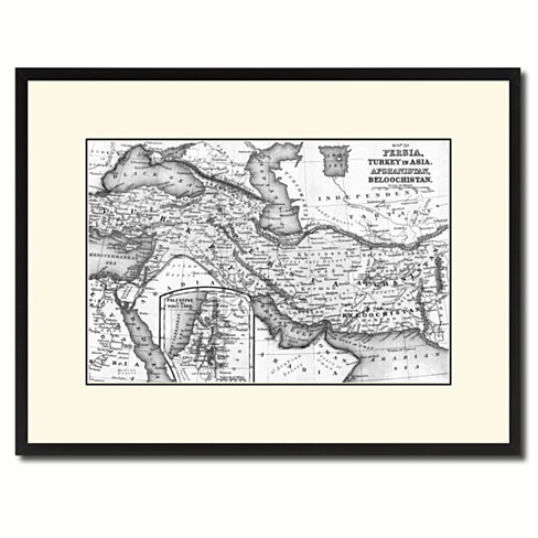 Persia Iraq Iran Afghanistan Vintage B&W Map Canvas Print with Picture Frame Home Decor Wall Art Gift Ideas