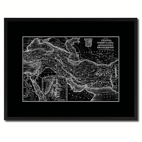 Persia Iraq Iran Afghanistan Vintage Monochrome Map Canvas Print with Gifts Picture Frame Home Decor Wall Art