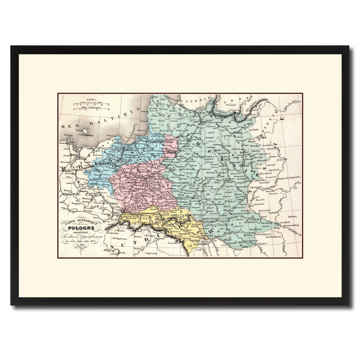Poland Prussia Germany Vintage Antique Map Wall Art Home Decor Gift Ideas Canvas Print Custom Picture Frame