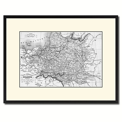 Poland Prussia Germany Vintage B&W Map Canvas Print with Picture Frame Home Decor Wall Art Gift Ideas