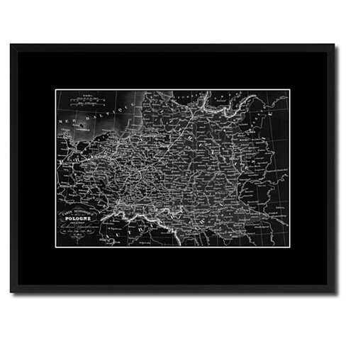 Poland Prussia Germany Vintage Monochrome Map Canvas Print with Gifts Picture Frame Home Decor Wall Art
