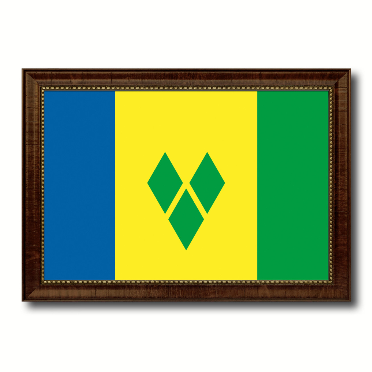 Saint Vincent & The Grenadines Country Flag Canvas Print With Picture Frame Home Decor Gifts Wall