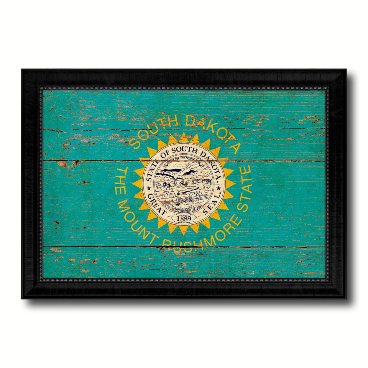 South Dakota Vintage Flag Canvas Print With Picture Frame Home Decor Wall Art Gift