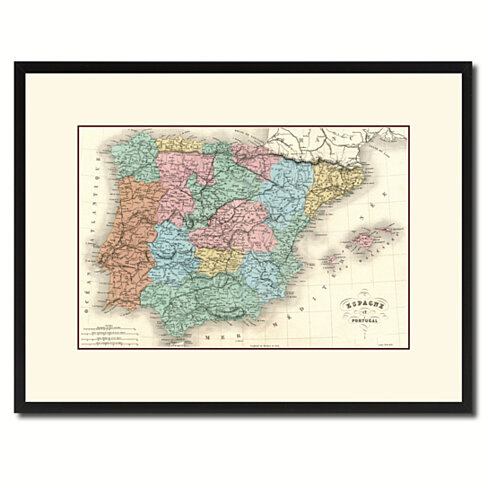 Spain Portugal Vintage Antique Map Wall Art Home Decor Gift Ideas Canvas Print Custom Picture Frame