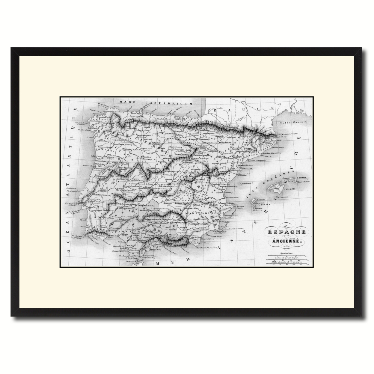 "Spain Portugal Vintage B&W Map Canvas Print, Picture Frame Home Decor Wall Art Gift Ideas – 16"" x 21"""