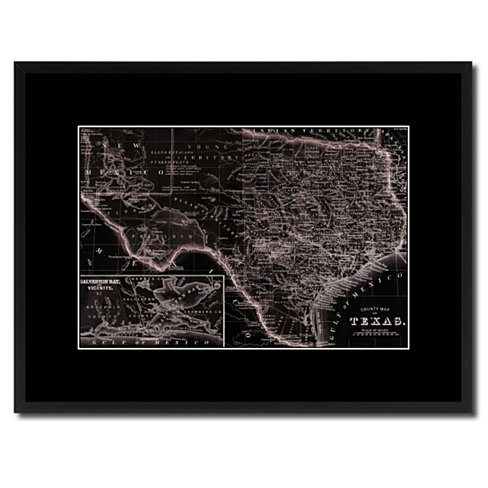 Texas Vintage Vivid Sepia Map Canvas Print with Picture Frame Home Decor Wall Art Decoration Gifts