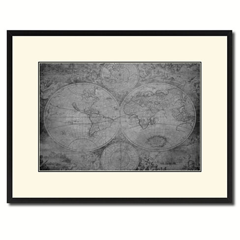 The World Circa Vintage B&W Map Canvas Print with Picture Frame Home Decor Wall Art Gift Ideas