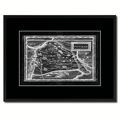 Tucuman Argentina Buenos Aires Vintage Monochrome Map Canvas Print With Gifts Picture Frame Home Decor Wall Art