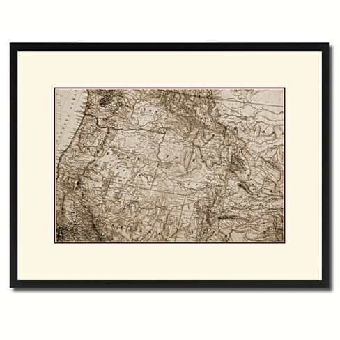 US Pacific Northwest Vintage Sepia Map Canvas Print with Picture Frame Gifts Home Decor Wall Art Decoration