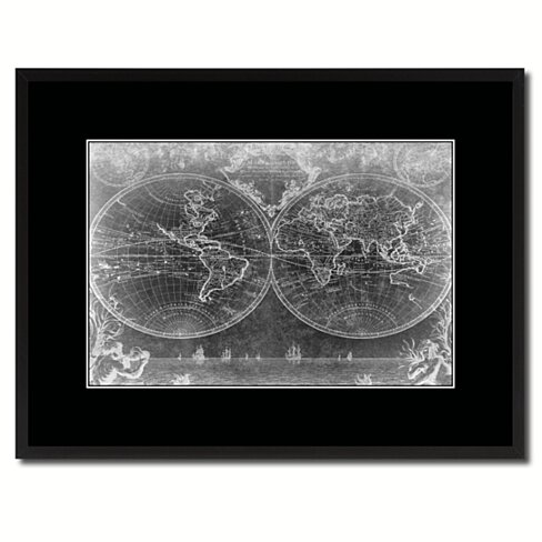 Vintage World Vintage Monochrome Map Canvas Print with Gifts Picture Frame Home Decor Wall Art