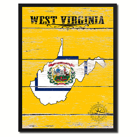 Buy West Virginia State Accent Map Flag 7x9 Yellow
