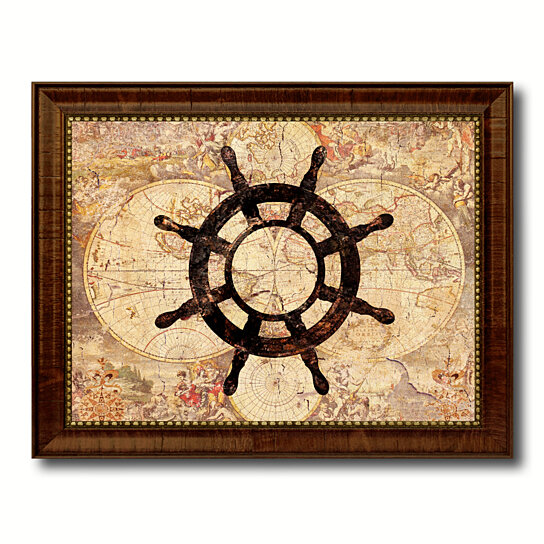 Vintage Nautical Bedding: Buy Wheel Vintage Nautical Old Map Canvas Print With