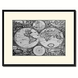 World Hemispheres Vintage B&W Map Canvas Print with Picture Frame Home Decor Wall Art Gift Ideas