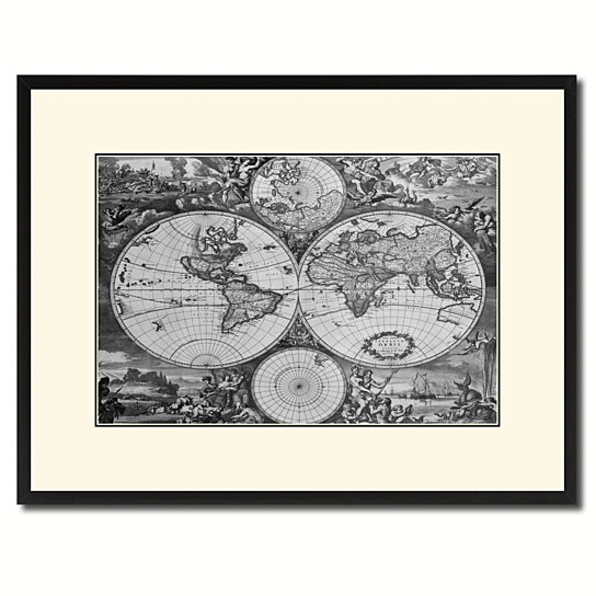 Buy World Hemispheres Vintage BW Map Canvas Print With Picture Frame Home Decor Wall Art Gift Ideas By SpotColorArt On Dot Bo