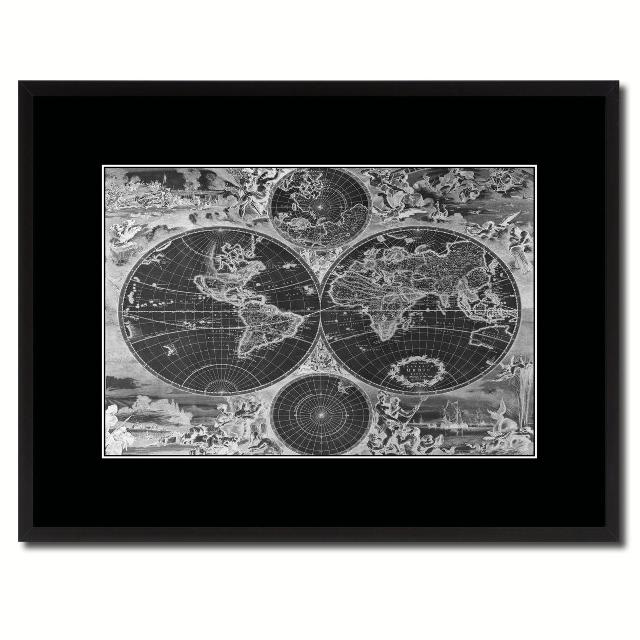 "World Hemispheres Vintage Monochrome Map Canvas Print, Gifts Picture Frames Home Decor Wall Art – 16"" x 21"""