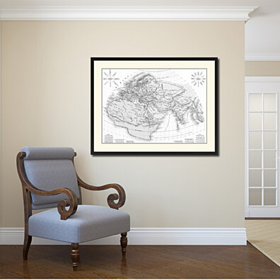 World In The Time Of Ptolomy Vintage BW Map Canvas Print With Picture Frame Home Decor Wall Art Decoration Gift Ideas 37012