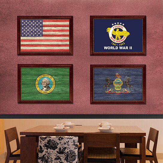 Buy World War II Military Flag Art Print On Canvas With