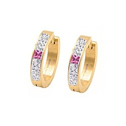18k Gold Plated 18 Round Gemstones Hot Pink Gemstone Huggie Hoop Earings 20mm