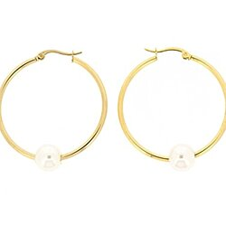 Edforce Women's 18k Gold Plated 10mm Simulated Pearl Hoop Earrings, (35mm)