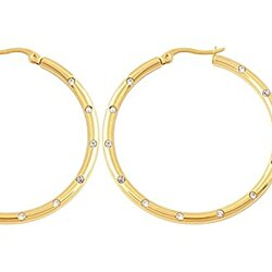 Edforce Women's 18k Gold Plated 12 Cubic Zirconia Enlay Hoop Earrings, (3mm x 45mm)