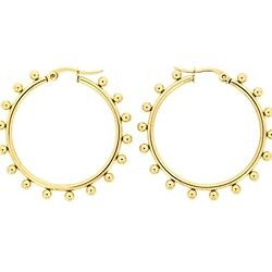 Edforce Women's 18K Gold Plated 16 2mm Ball-Studded Hoop Earrings, (30mm)
