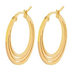 Edforce Women's 18K Gold Plated Flattened Hoop Earrings, (20mm)
