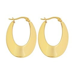"Edforce Women's 18k Gold Plated Long ""U"" Shaped Hoop Earrings, (28mm)"