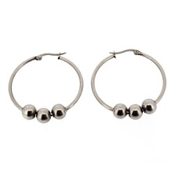 Edforce Women's Stainless Steel Hoop Earrings with 3 Balls, (35mm)