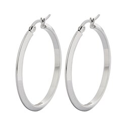 Edforce Women's Stainless Steel Square Hoop Earrings, (30mm)