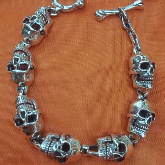 Buy Best Selling Heavy Sterling Silver Skull Bracelet With