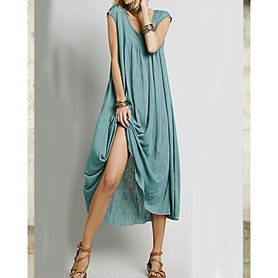 Cap Sleeve Long Swing Dress