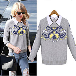 Autumn Winter Fashion Women Fake Layered Two Tone Sweatshirts