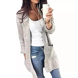 Gray Loose Warm Knitted Cardigan Sweater