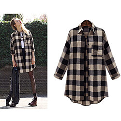 Autumn Long Sleeve Polished Playful Plaid Long Shirt Blouse