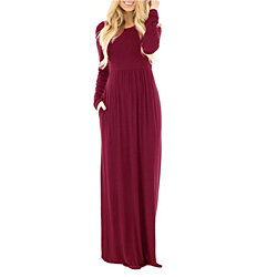 Chiffon Cocktail Long Sleeve Solid Maxi Dresses for Women
