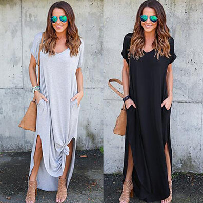 V Neck Short Sleeve Loose Fit Cotton Maxi Dress With Pockets