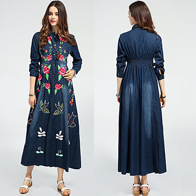 Relax Fit Floral Embroidered Jeans Bohemian Midi Dress