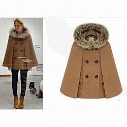 Winter Cloak Woolen Blends Cape Batwing Sleeve Hooded Coat